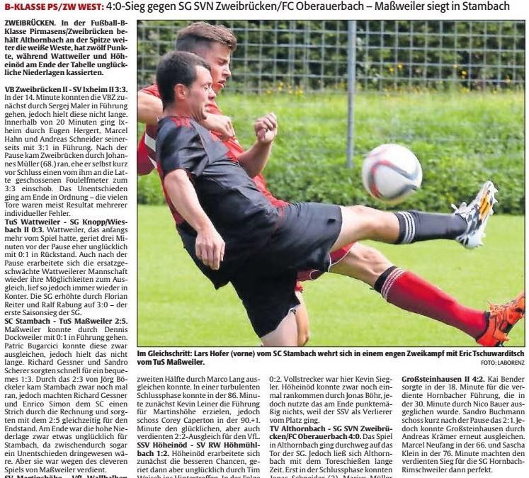 B-Klasse: Spielbericht vom 4. Spieltag