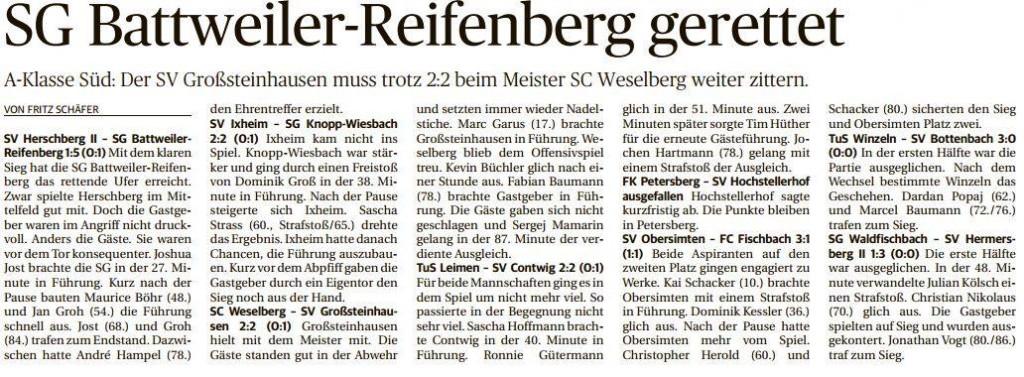 1. Mannschaft kommt nicht über ein Unentschieden gegen die SG Knopp/Wiesbach hinaus